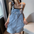 Dress Spring 2021 Denim blue white S M L XL Short skirt singleton  Sleeveless commute Loose waist Solid color Socket A-line skirt straps 18-24 years old Type A Slave sink Korean version Pocket button 831355011-61096 More than 95% other Other 100% Pure e-commerce (online only)