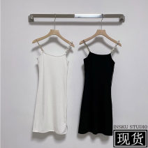 Dress Spring 2021 Charming black, crisp white S, M Middle-skirt singleton  Sleeveless commute High waist Solid color camisole 18-24 years old Korean version 71% (inclusive) - 80% (inclusive) other other