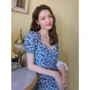 Women's large Summer 2021 Blue skirt blue dress S M L XL singleton  commute Socket Short sleeve Flower color Retro square neck puff sleeve 80e48wetvx10 Amatullah / amatullah 25-29 years old Medium length Other 100% Pure e-commerce (online only)