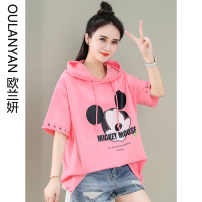 T-shirt Pink Blue Orange M L XL Summer 2021 Short sleeve Hood easy have cash less than that is registered in the accounts routine commute cotton 86% (inclusive) -95% (inclusive) 25-29 years old Korean version originality Cartoon animation Ou Lanyan K363#-42OLY printing Pure e-commerce (online only)