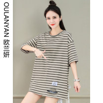 T-shirt Apricot stripe white stripe blue stripe M L XL Summer 2021 Short sleeve Crew neck easy have cash less than that is registered in the accounts routine commute cotton 96% and above 25-29 years old Korean version classic Thin horizontal stripe Ou Lanyan K361#-48OLY Hole labeling Cotton 100%