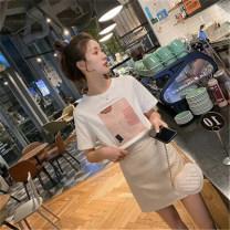 Fashion suit Summer 2020 S,M,L,XL White T-shirt + apricot skirt MAJE BRIAN A1564 81% (inclusive) - 90% (inclusive)