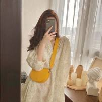 Dress Spring 2021 Dress (with sling skirt) S is suitable for 90-110 Jin, M is suitable for 111-125 Jin, l is suitable for 126-135 Jin, XL is suitable for 136-145 Jin longuette singleton  Long sleeves commute V-neck High waist Broken flowers Socket other pagoda sleeve Others 18-24 years old Type H