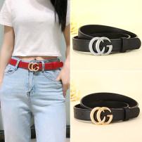 Belt / belt / chain Double skin leather female belt Versatile Single loop Youth Smooth button letter soft surface 2.8cm alloy letter Dryden DLD001 90cm 95cm 100cm 105cm 110cm 115cm 120cm Summer 2020 yes