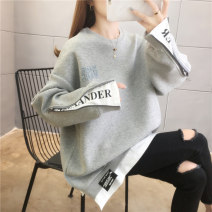 Women's large Spring 2021 Grey black blue M (suitable for 90-120 kg) l (suitable for 120-140 kg) XL (suitable for 140-160 kg) XXL (suitable for 160-180 kg) Sweater / sweater Fake two pieces commute easy thin Socket Long sleeves letter Korean version Crew neck Medium length polyester fiber Collage