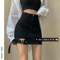 skirt Summer 2021 XS S M L black Short skirt commute High waist Denim skirt Solid color Type A 18-24 years old More than 95% Small house woman shopping other Pocket button zipper panel Korean version Other 100%