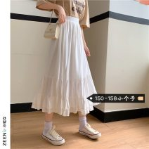 skirt Summer 2021 XS S M White purple black Mid length dress commute High waist A-line skirt Solid color Type A 18-24 years old More than 95% Small house woman shopping other Korean version Other 100%