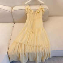 Dress Summer 2021 Yellow  S M L longuette singleton  Sleeveless Sweet One word collar High waist Solid color Socket Big swing camisole 18-24 years old An Jingchun A383 More than 95% other Other 100% Lolita Pure e-commerce (online only)