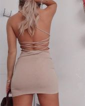Dress Summer 2020 Apricot S,M,L,XL Short skirt singleton  Sleeveless street square neck High waist Solid color Pencil skirt routine 25-29 years old Type H 31% (inclusive) - 50% (inclusive) polyester fiber Europe and America