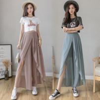 Casual pants Pink, blue, black S,M,L,XL,2XL Summer 2021 Ninth pants Wide leg pants High waist Thin money xdg//41 fold