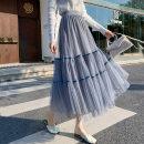 skirt Spring 2021 Elastic waist S-XL Kaka, grey blue, apricot, dark black Mid length dress Versatile High waist Cake skirt Solid color Type A 18-24 years old xdg Pleats, gauze, stitching
