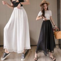 Casual pants White, black S,M,L,XL Summer 2020 Ninth pants High waist commute Thin money xdg Korean version