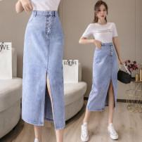 skirt Summer 2021 S,M,L,XL,2XL wathet Mid length dress Versatile High waist A-line skirt Solid color Type A xdg Denim other