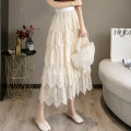skirt Spring 2021 Average size Black, apricot longuette commute High waist Cake skirt Solid color Type A xdgC 91% (inclusive) - 95% (inclusive) other polyester fiber Lace Korean version