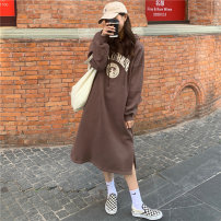 Dress Winter 2020 Brown grey dark blue Average size longuette singleton  Long sleeves commute Hood Loose waist letter Socket A-line skirt routine Others 18-24 years old Type H Qiaogina Korean version printing cl102-1204 More than 95% polyester fiber Polyester 100% Exclusive payment of tmall