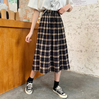 skirt Summer 2020 Average size Red and black longuette commute High waist A-line skirt lattice Type A 18-24 years old DJLJ84107 More than 95% Qiaogina other Button Retro New polyester fiber 100% Pure e-commerce (online only)