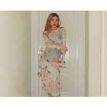 Dress Spring 2020 Angel print S, M Mid length dress singleton  Long sleeves commute One word collar High waist Decor Socket A-line skirt Lotus leaf sleeve Others 25-29 years old Type A #NOHASHTAG Korean version 81% (inclusive) - 90% (inclusive) other polyester fiber