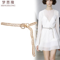 Belt / belt / chain Metal Silver Gold female Waist chain Versatile Single loop Middle aged youth Pin buckle other 1.8cm alloy Hollow chain Mengsilong M-323 110cm Summer of 2019 no