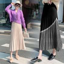 skirt Autumn 2020 S,M,L,XL Grey, black, apricot, brown longuette commute High waist Pleated skirt other Type A 25-29 years old knitting other Splicing Korean version