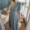 Women's large Summer 2021 Blue white S M L XL Dress singleton  commute Self cultivation Socket Short sleeve Solid color Korean version V-neck routine routine 212+ Webbed 25-29 years old longuette Other 100% Pure e-commerce (online only)