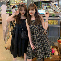 Women's large Summer 2021 Check black S M L Dress singleton  commute Self cultivation Socket Sleeveless lattice Korean version Crew neck routine ++101 Webbed 25-29 years old Short skirt Other 100% Pure e-commerce (online only)