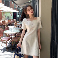 Women's large Spring 2021 Apricot S M L XL Dress singleton  commute Self cultivation Socket Short sleeve Korean version square neck routine +21 Webbed 25-29 years old Short skirt Other 100% Pure e-commerce (online only)