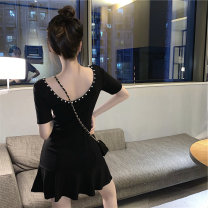 Women's large Summer 2021 Little black dress S M L Dress singleton  commute Self cultivation Socket Short sleeve Solid color Korean version Crew neck have cash less than that is registered in the accounts routine Webbed 18-24 years old 51% (inclusive) - 70% (inclusive) Short skirt Other 100%