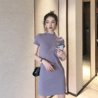 Women's large Summer 2021 Purple black S M L XL 2XL 3XL 4XL Dress singleton  commute Self cultivation Socket Short sleeve Solid color Korean version Crew neck routine routine ++49 Webbed 25-29 years old Short skirt Other 100% Pure e-commerce (online only)