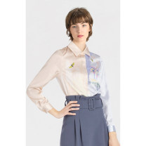 Lace / Chiffon Spring 2020 Long sleeves commute Socket singleton  easy Regular Polo collar Decor routine 25-29 years old Lily / Lily Printing, splicing Ol style 96% and above