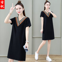 Dress Summer 2021 Grey red black M L XL 2XL 3XL Mid length dress singleton  Short sleeve commute V-neck High waist other Socket A-line skirt routine Others 25-29 years old Type A Right sail Korean version YF-Y685518M More than 95% cotton Cotton 95.8% polyurethane elastic fiber (spandex) 4.2%
