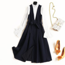 Dress Spring 2021 Navy + white S. M, l, XL, XXL longuette Two piece set Long sleeves commute stand collar High waist Solid color other A-line skirt pagoda sleeve straps 25-29 years old Other / other Splicing More than 95% Chiffon other
