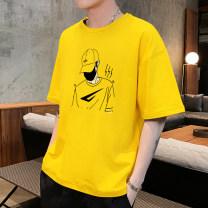 T-shirt Youth fashion routine M L XL 2XL 3XL 4XL Zhi fan Short sleeve Crew neck standard campus summer ZF303 Cotton 95% polyurethane elastic fiber (spandex) 5% teenagers Youthful vigor Summer of 2019 cotton 90% (inclusive) - 95% (inclusive)
