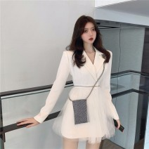 Dress Summer 2021 White black S M Short skirt singleton  Long sleeves commute tailored collar High waist Solid color double-breasted A-line skirt routine Others 18-24 years old Buryton Korean version Splicing More than 95% polyester fiber 100.00% polyester Pure e-commerce (online only)