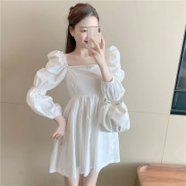 Women's large Summer 2020 white S M L Dress singleton  commute Self cultivation moderate Socket Short sleeve Solid color Korean version square neck routine printing and dyeing routine L05307 Xin Yaqi 18-24 years old backless Middle-skirt Other 100% Pure e-commerce (online only) other