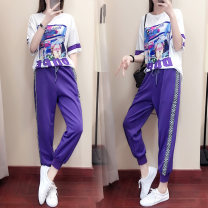 Women's large Summer 2020 Top + pants M [recommended 90-100 kg] l [recommended 100-115 kg] XL [recommended 115-125 kg] 2XL [recommended 125-140 kg] 3XL [recommended 140-160 kg] 4XL [recommended 160-180 kg] Two piece set commute easy thin Socket Short sleeve Korean version routine 800  2 Love beauty