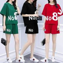 Women's large Summer 2020 Black suit red suit green suit M [recommended 80-100 kg] l [recommended 100-115 kg] XL [recommended 115-125 kg] 2XL [recommended 125-140 kg] 3XL [recommended 140-160 kg] 4XL [recommended 160-180 kg] 5XL [recommended 180-200 kg] Two piece set commute easy thin Socket routine