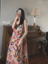 Dress Summer 2020 Decor S,XL,L,M longuette singleton  Sleeveless commute V-neck Loose waist Decor Socket A-line skirt camisole 25-29 years old Type A Other / other Retro other
