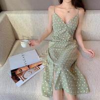 Dress Summer 2021 Bean green S M L longuette singleton  commute V-neck High waist Dot zipper A-line skirt camisole 25-29 years old Type A Guangdong Philippines Korean version Pleated backless printing More than 95% other Other 100% Pure e-commerce (online only)