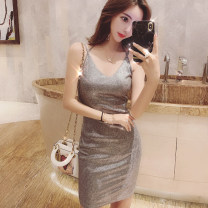 Dress Summer 2021 silver gray S M L Short skirt singleton  Sleeveless commute V-neck High waist Solid color zipper One pace skirt camisole 25-29 years old Type X Guangdong Philippines Korean version backless More than 95% other other Other 100% Pure e-commerce (online only)