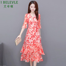 Women's large Summer 2020 Green red M L XL 2XL 3XL Dress singleton  commute Self cultivation moderate Socket Short sleeve Decor Korean version V-neck routine other Three dimensional cutting other ABL2020Z6606 Ebley 35-39 years old Medium length Other 100% Pure e-commerce (online only) other zipper