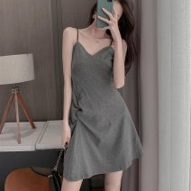 Women's large Summer 2020 Black drawstring skirt S M L XL Dress singleton  commute Self cultivation moderate Socket Sleeveless Solid color Korean version One word collar have cash less than that is registered in the accounts Three dimensional cutting routine OSUD16322 Lin Yao 18-24 years old