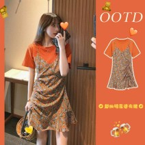 Women's large Spring 2021 Picture color dress S M L XL singleton  commute Self cultivation Socket Short sleeve Broken flowers literature Crew neck have cash less than that is registered in the accounts polyester fiber fold routine Lin Yao longuette Other 100% Pure e-commerce (online only)