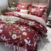 Bedding Set / four piece set / multi piece set cotton other Plants and flowers 133X76 Other / other cotton 4 pieces 40 Bed skirt Qualified products Korean style 100% cotton twill Reactive Print