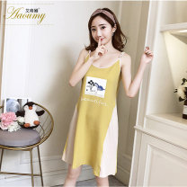 Pajamas / housewear set female aaOUMY M,L,XL,XXL x2001,x2002,x2004,x2009,x2011,x2014,x2023,x2027,x2028,x2029,x2030,x2032 cotton Sleeveless Sweet Leisure home summer Thin money Crew neck Cartoon animation Socket youth More than 95% pure cotton printing FZY2561057 200g and below Middle-skirt