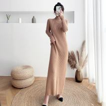Dress Winter 2020 Black, khaki, apricot S (85-90 kg), m (90-110 kg), l (110-125 kg), XL (125-140 kg) longuette singleton  Long sleeves commute Half high collar Loose waist Solid color Socket One pace skirt routine Others 25-29 years old Type H Korean version 31% (inclusive) - 50% (inclusive) knitting
