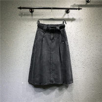 skirt Spring 2021 S,M,L,XL,2XL black Mid length dress Versatile Natural waist Denim skirt Solid color Type A 71% (inclusive) - 80% (inclusive) Denim cotton