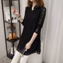 Lace / Chiffon Summer 2021 M,L,XL,2XL,3XL,4XL,5XL Long sleeves commute Socket Two piece set easy Medium length Polo collar Solid color routine 35-39 years old Hollowed out, Gouhua hollowed out, lace Korean version 81% (inclusive) - 90% (inclusive)