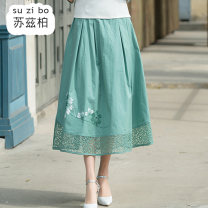 skirt Spring 2020 Average size Light pink light green Mid length dress commute Natural waist A-line skirt Type A 51% (inclusive) - 70% (inclusive) Suzberg cotton ethnic style Cotton 65% flax 35% Pure e-commerce (online only)