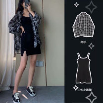 Women's large Summer 2020 Plaid Shirt [early autumn dress] black suspender skirt [light mature dress design niche] suit [European station early autumn suit / temperament goddess suit fashion] Dress Two piece set Sweet Self cultivation moderate Socket Short sleeve Check solid Polo collar routine other