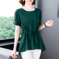 Middle aged and old women's wear Summer 2021 Dark green, sapphire blue, red M,L,XL,2XL,3XL,4XL commute T-shirt easy singleton  Solid color 50-59 years old Socket moderate Crew neck routine Petal sleeve SY1313 Huili Bandage polyester fiber 31% (inclusive) - 50% (inclusive) Short sleeve Simplicity